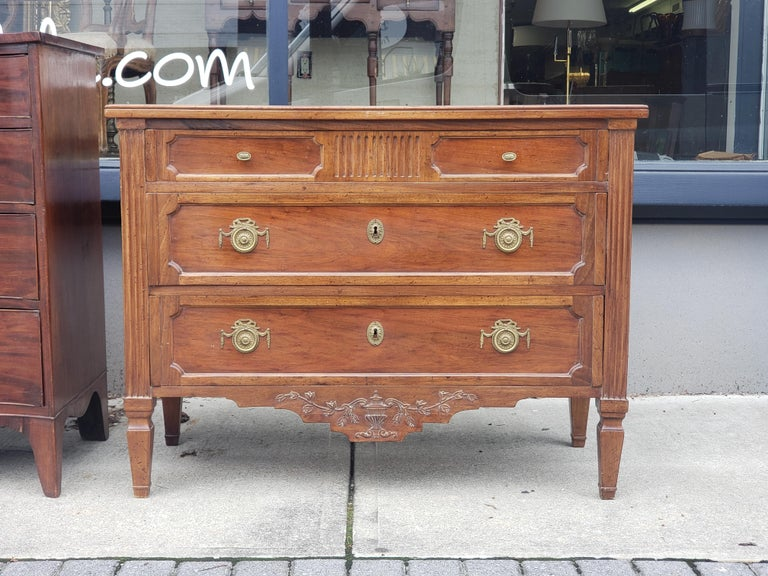 Carved Pair of French Provencal Directoire Style Commodes For Sale