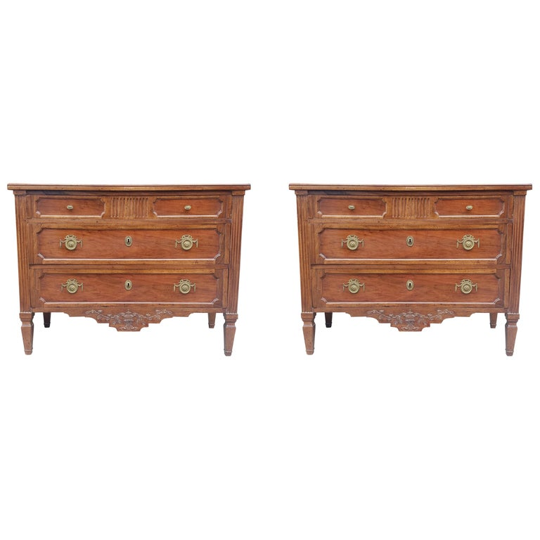 Pair of French Provencal Directoire Style Commodes For Sale