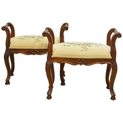 Pair of French Provincial Carved and Silk Embroidered Walnut Benches