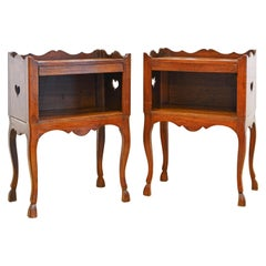 Pair of French Provincial Carved Walnut Side Tables with Concealed Drawers