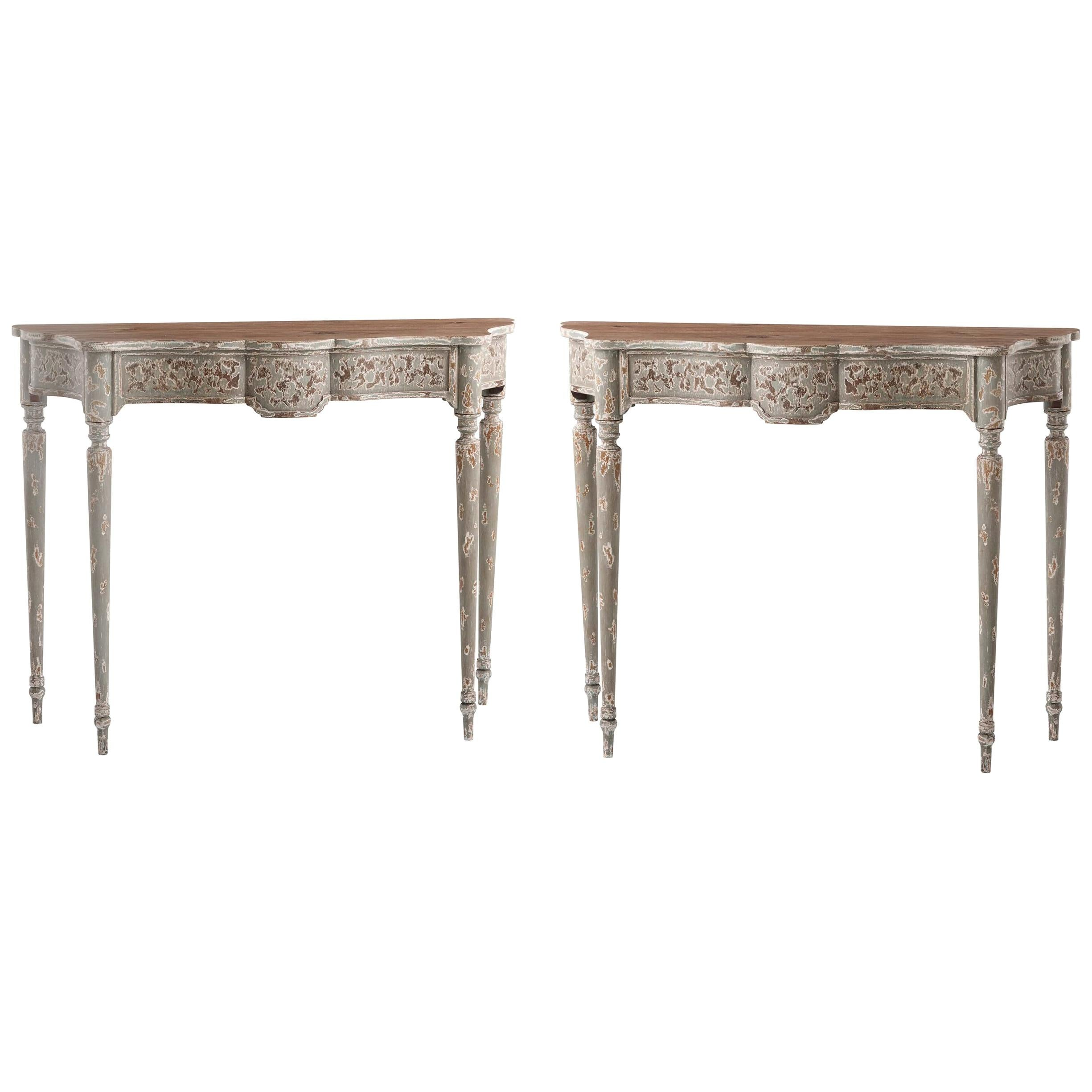 Pair of French Provincial Console Tables