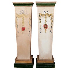 Pair of French Provincial Hand Painted Sculpture Display Pedestals, 20th Century