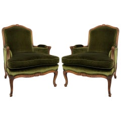 Pair of French Provincial Louis XV Style Green Velvet Bergères