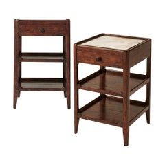 Pair of French Provincial Marble-Top Side Tables