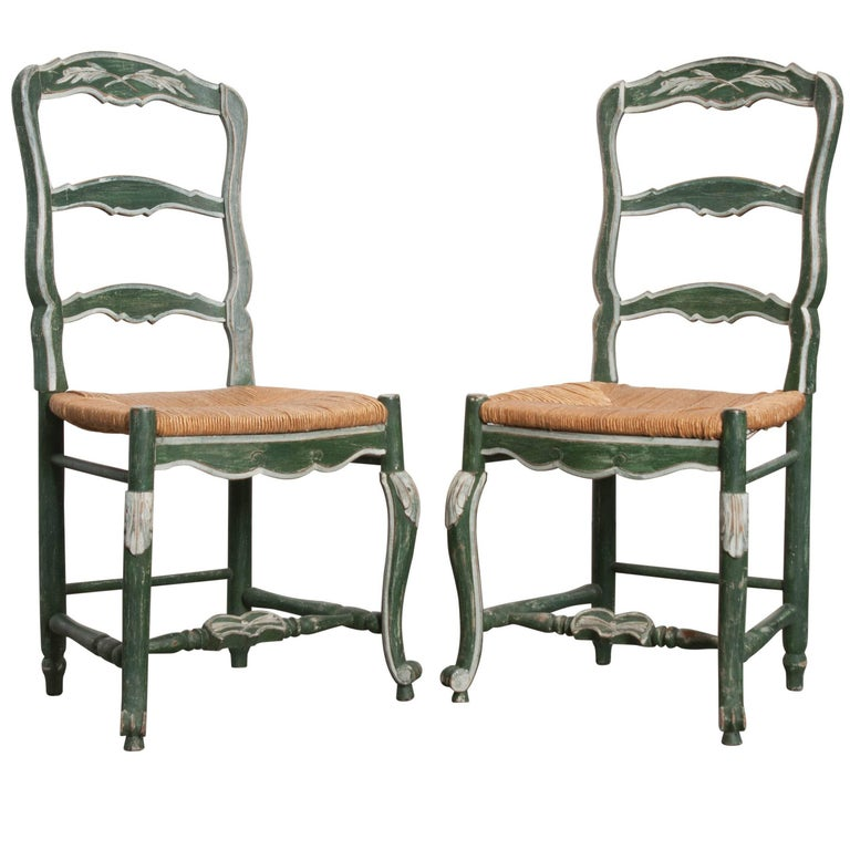 Pair of French Provincial Painted Rush Seat Chairs