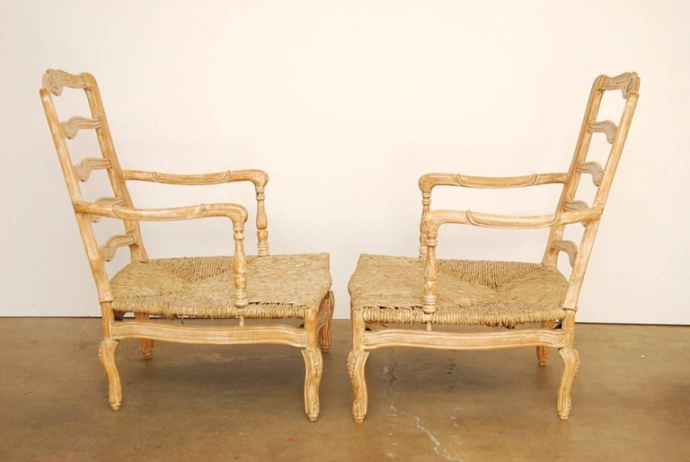 Pair of French Provincial Rush Seat Fauteuil Armchairs For Sale 4