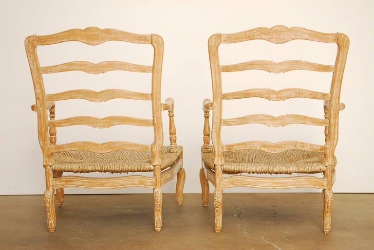 Pair of French Provincial Rush Seat Fauteuil Armchairs For Sale 6