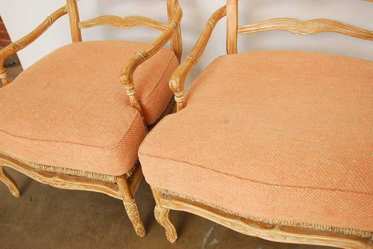 Spanish Pair of French Provincial Rush Seat Fauteuil Armchairs For Sale
