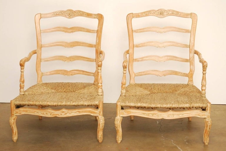 Pair of French Provincial Rush Seat Fauteuil Armchairs For Sale 1
