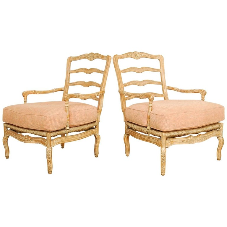 Pair of French Provincial Rush Seat Fauteuil Armchairs For Sale