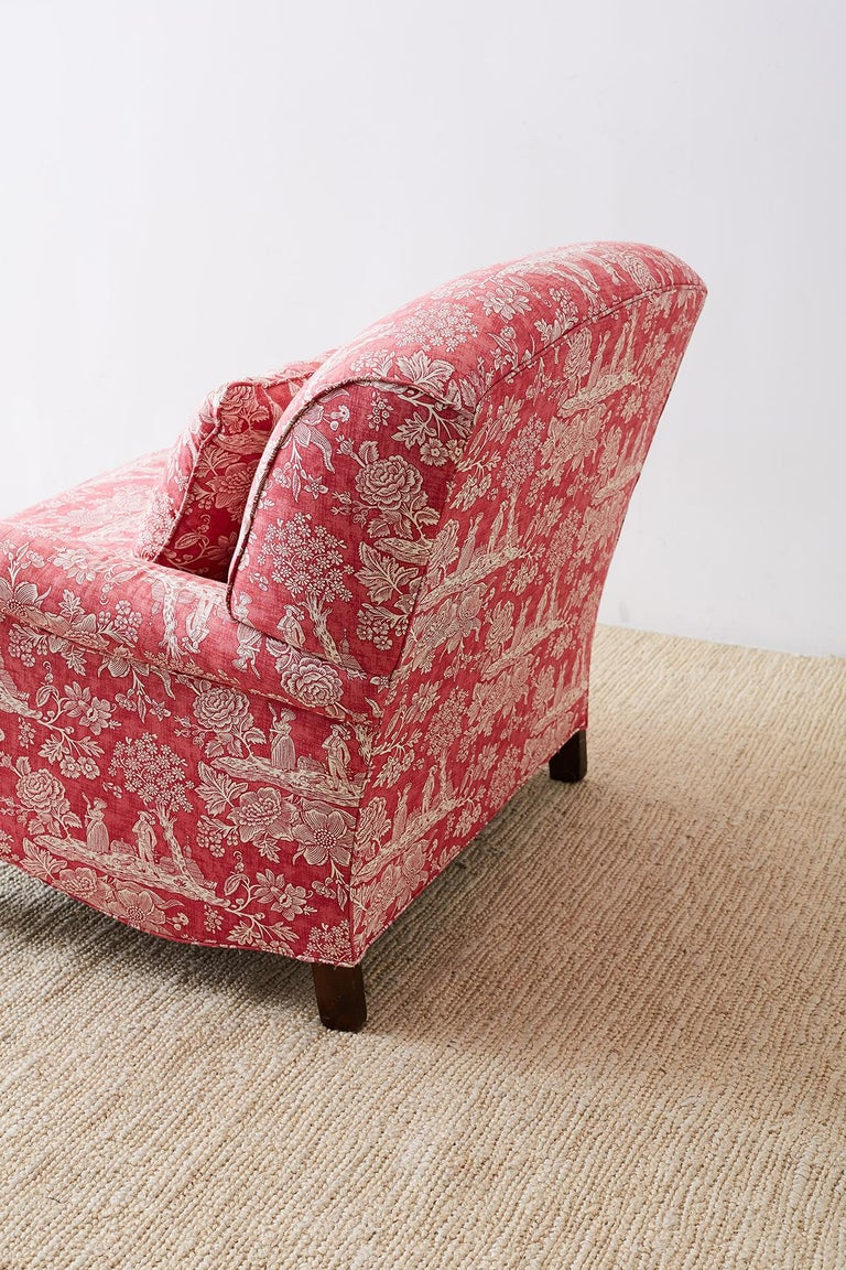 Pair of French Provincial Toile Oversized Lounge Chairs For Sale 7