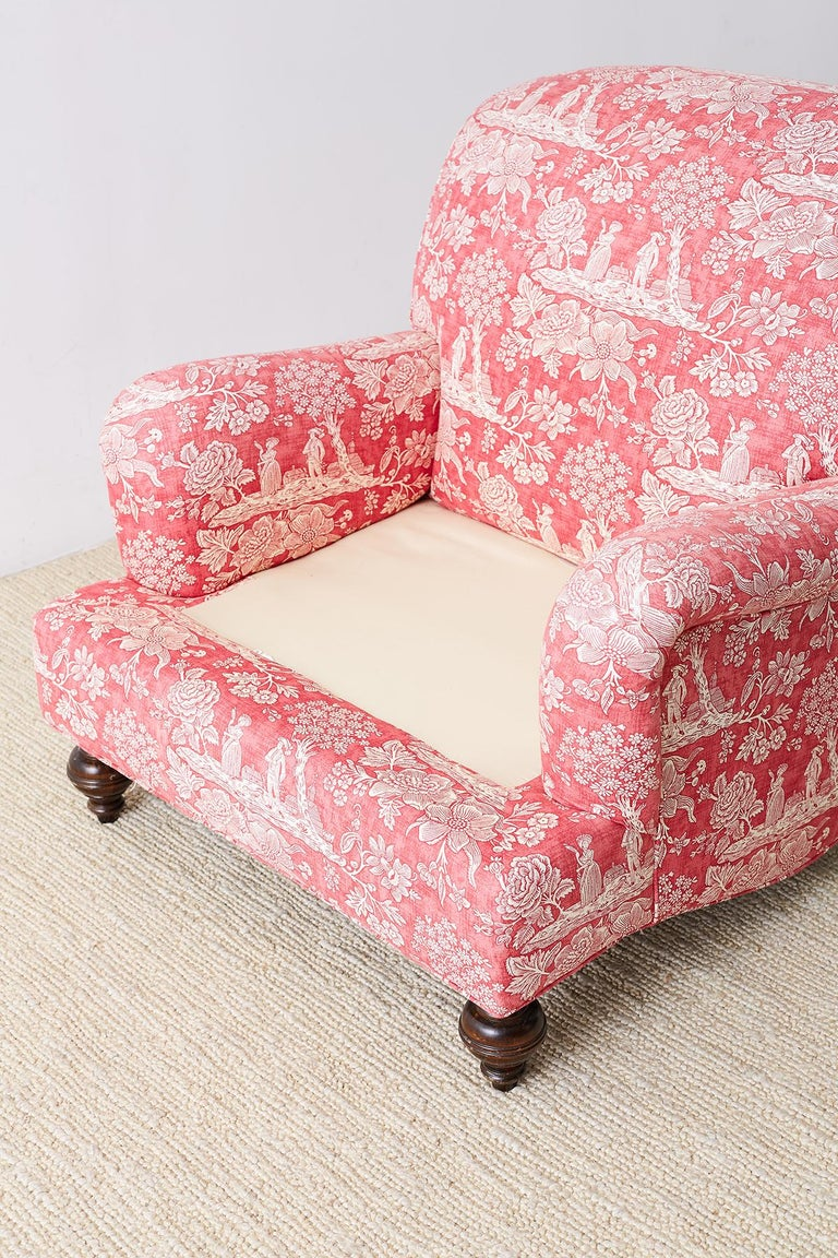 Pair of French Provincial Toile Oversized Lounge Chairs For Sale 8