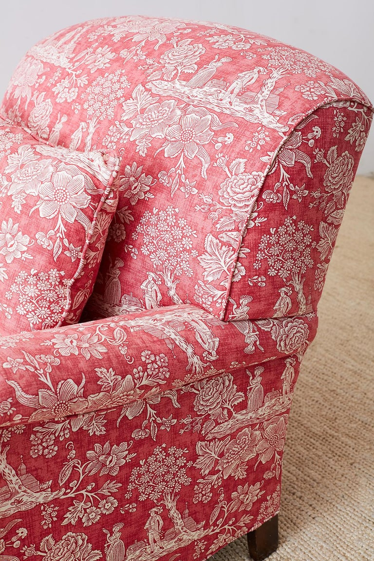 Pair of French Provincial Toile Oversized Lounge Chairs For Sale 9
