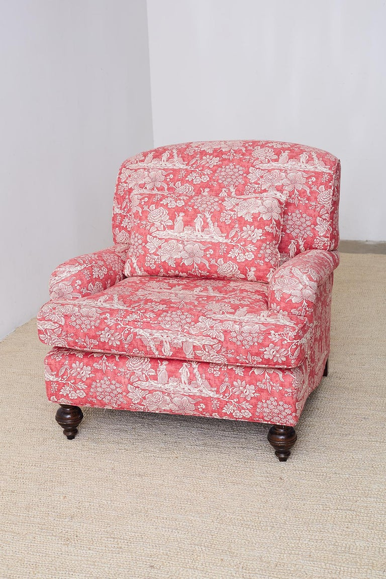 Pair of French Provincial Toile Oversized Lounge Chairs For Sale 11