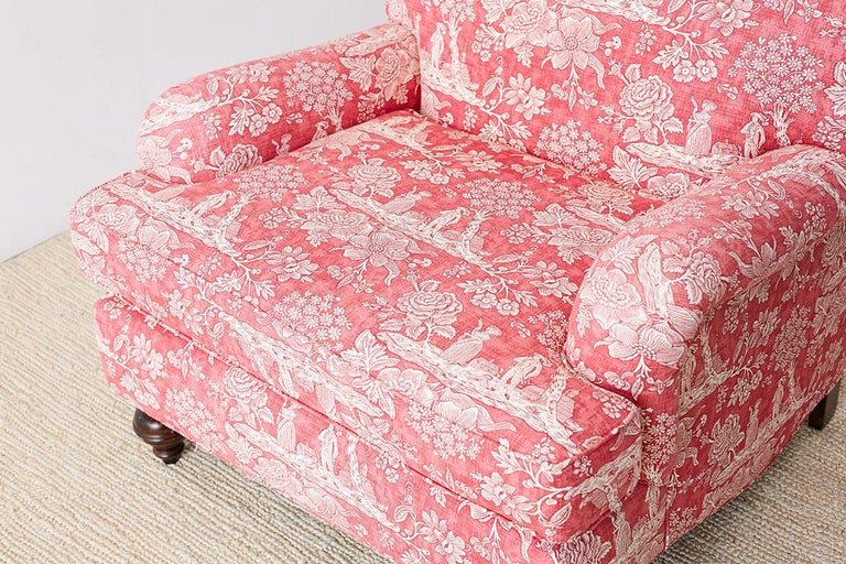 Pair of French Provincial Toile Oversized Lounge Chairs For Sale 12
