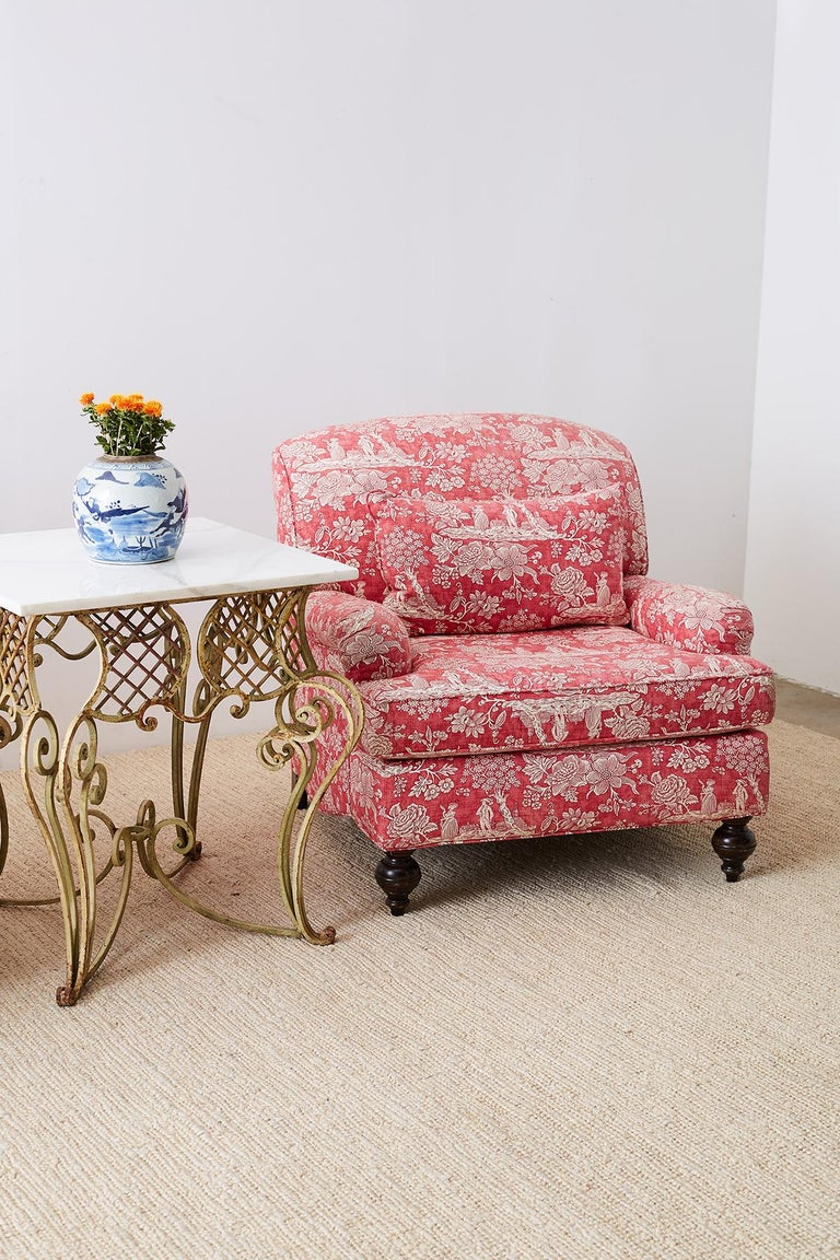 Pair of French Provincial Toile Oversized Lounge Chairs For Sale 13