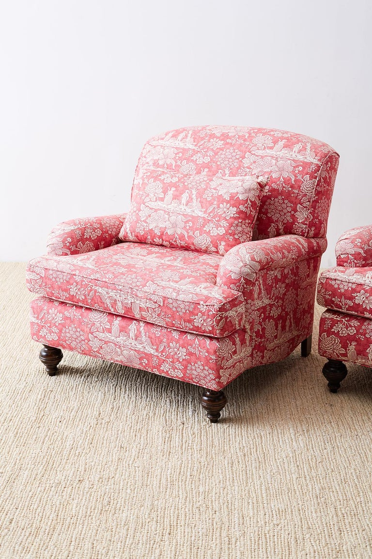 American Pair of French Provincial Toile Oversized Lounge Chairs For Sale