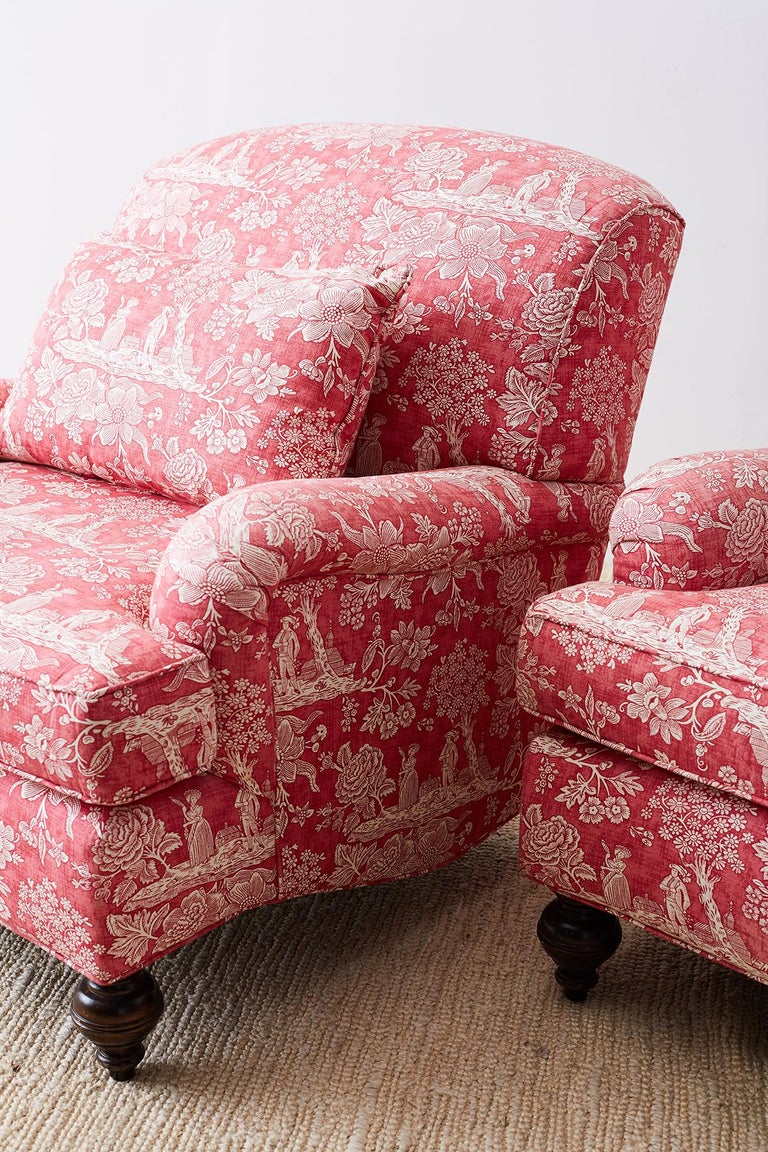 20th Century Pair of French Provincial Toile Oversized Lounge Chairs For Sale