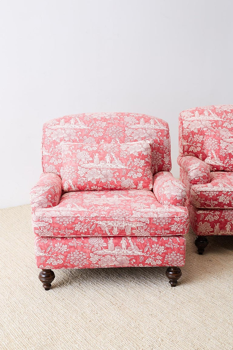 Fabric Pair of French Provincial Toile Oversized Lounge Chairs For Sale