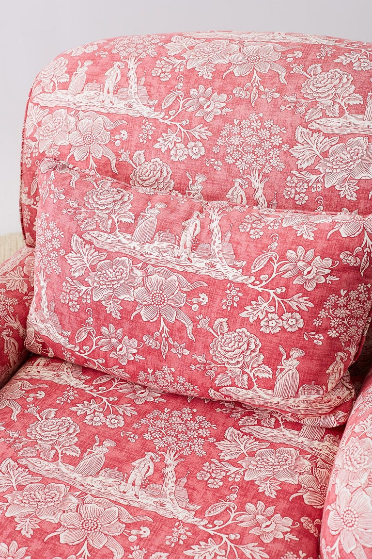 Pair of French Provincial Toile Oversized Lounge Chairs For Sale 1