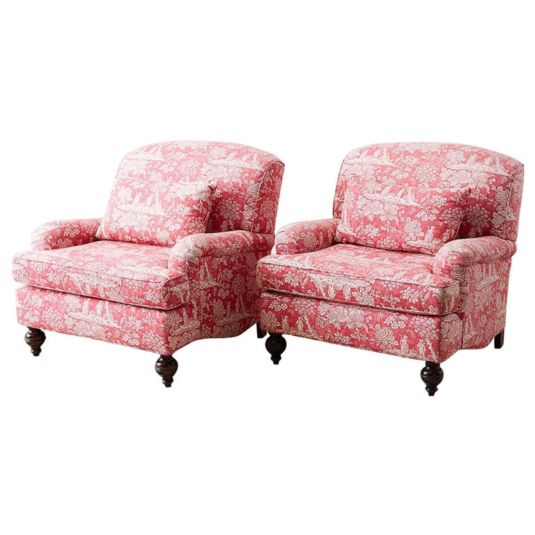 Pair of French Provincial Toile Oversized Lounge Chairs For Sale