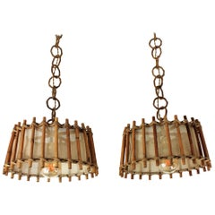 Pair of French Rattan and Burlap Pendant Hanging Lamps, 1960s