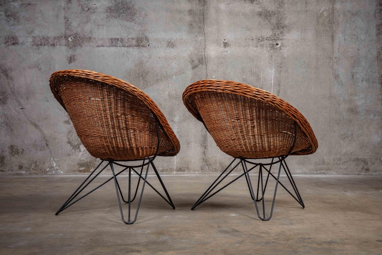 Pair of French Rattan Barrel Chairs In Good Condition For Sale In Los Angeles, CA