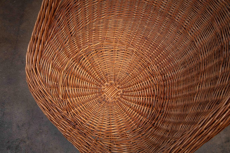 Mid-20th Century Pair of French Rattan Barrel Chairs For Sale