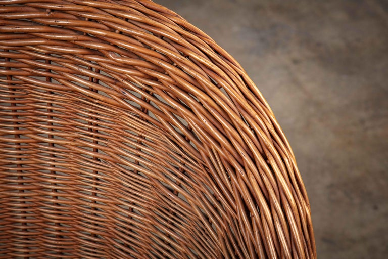Pair of French Rattan Barrel Chairs For Sale 1
