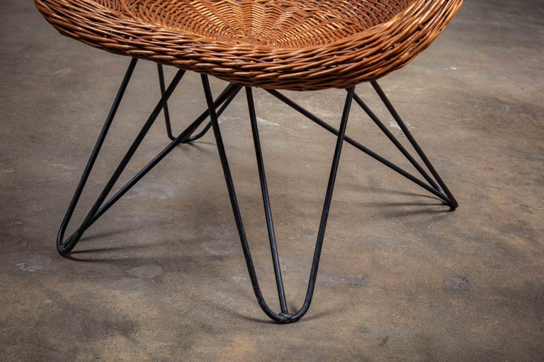 Pair of French Rattan Barrel Chairs For Sale 2