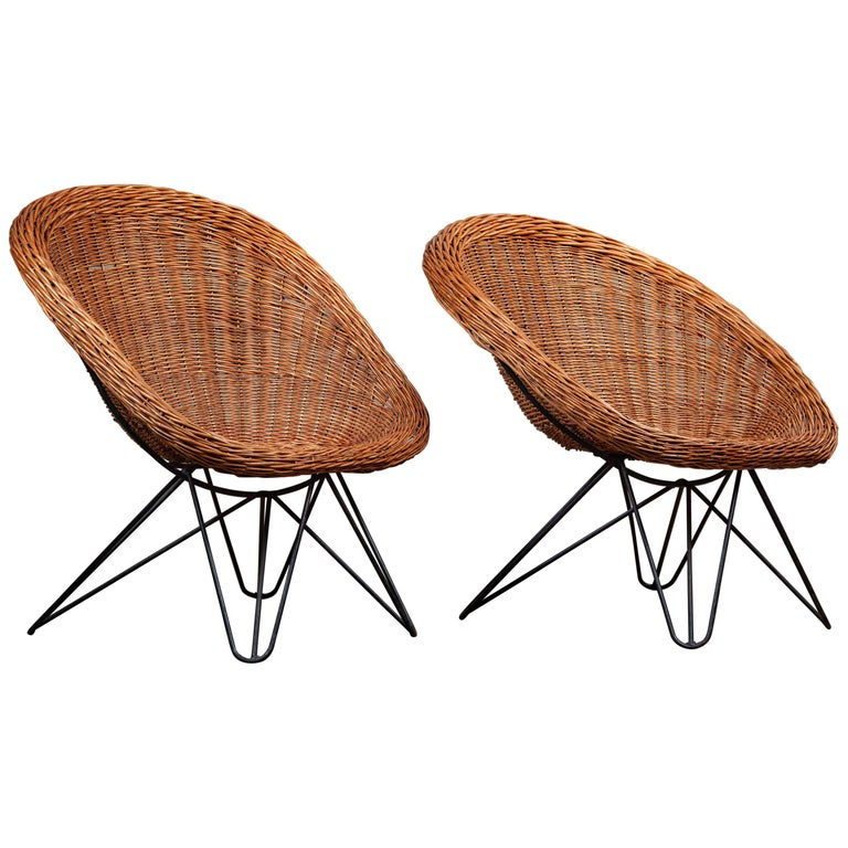 Pair of French Rattan Barrel Chairs For Sale
