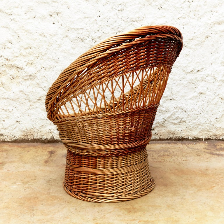 Pair of French Rattan Egg Mid-Century Modern Easychairs, circa 1960 9