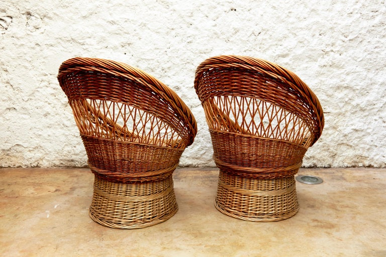 Pair of French Rattan Egg Mid-Century Modern Easychairs, circa 1960 11