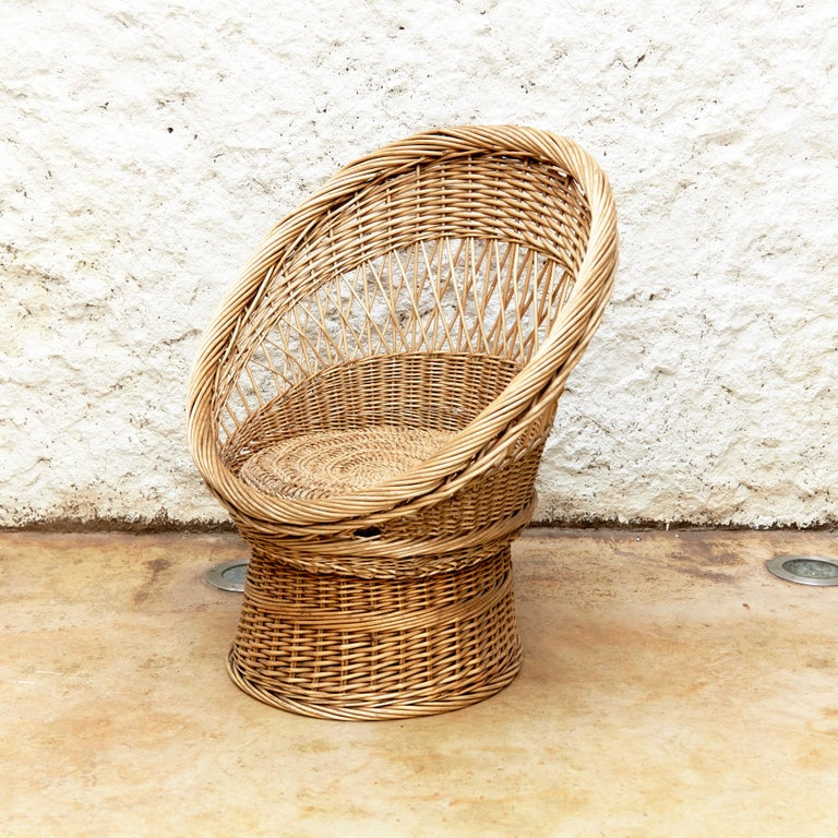 Pair of French Rattan Egg Mid-Century Modern Easychairs, circa 1960 2
