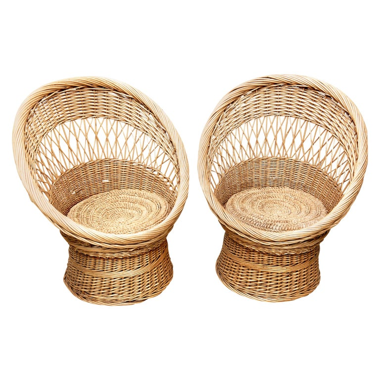 Pair of French Rattan Egg Mid-Century Modern Easychairs, circa 1960
