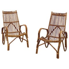 Pair of French Rattan Lounge Chairs 'Individually Priced'