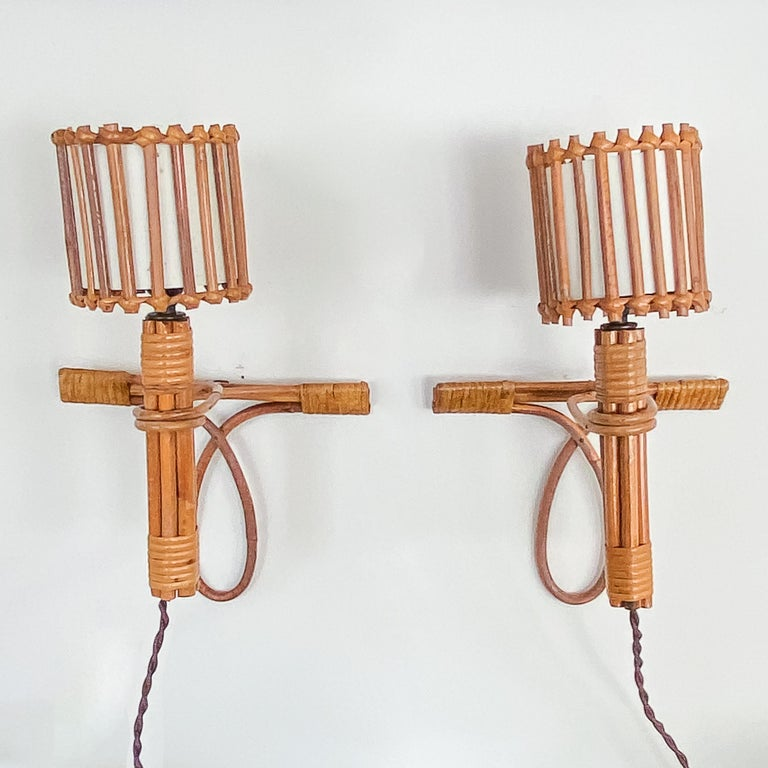 Pair of French Rattan Sconces by Louis Sognot For Sale 7