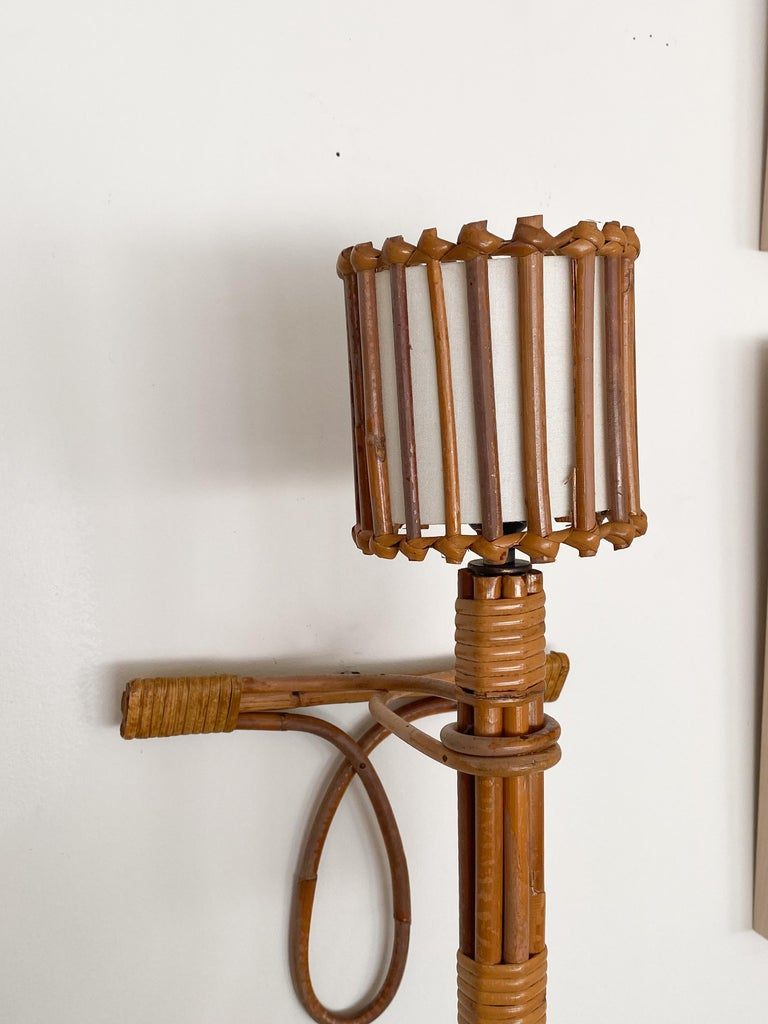 Pair of French Rattan Sconces by Louis Sognot In Good Condition For Sale In Los Angeles, CA
