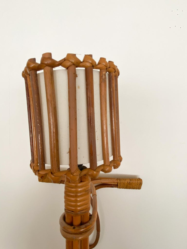 Pair of French Rattan Sconces by Louis Sognot For Sale 2