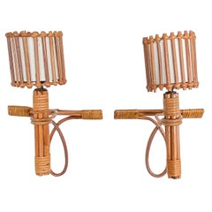 Pair of French Rattan Sconces by Louis Sognot