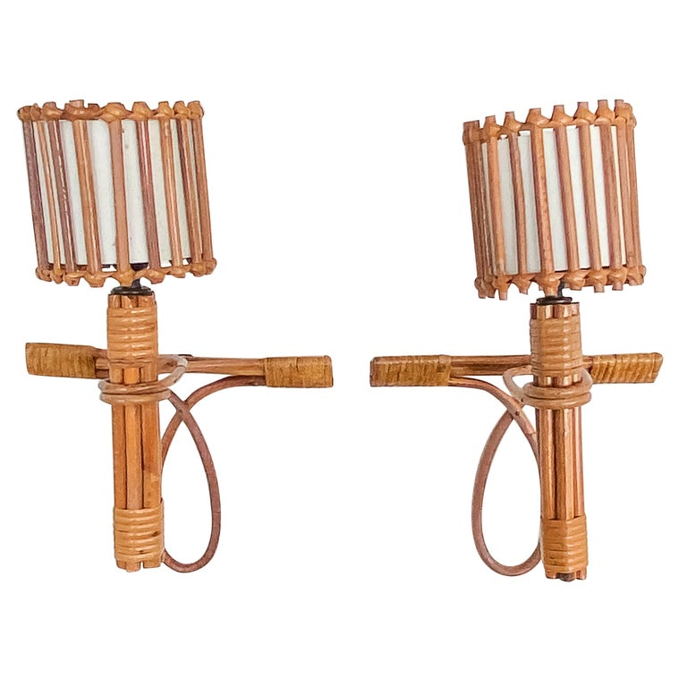 Pair of French Rattan Sconces by Louis Sognot For Sale