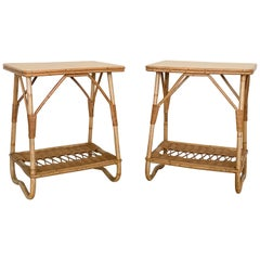 Pair of French Rattan Side Tables
