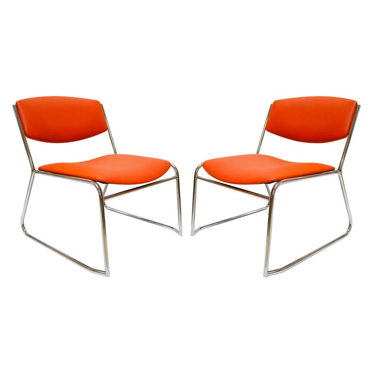 Pair of French Reddish Orange Leather French Slipper Chairs For Sale