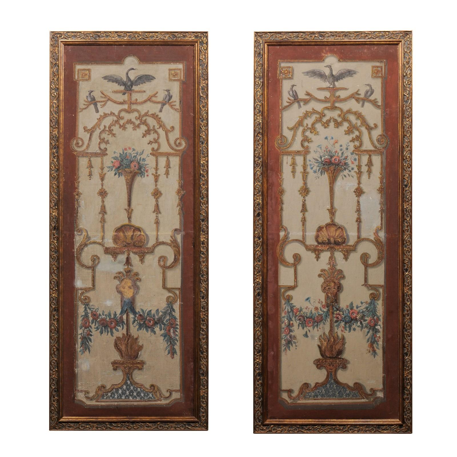 Pair of French Régence Period Early 18th Century Decorative Framed Wall Panels