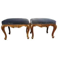 Pair of Italian  Regence Style Walnut Benches or Stools