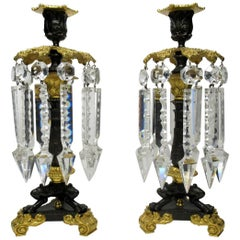 Pair of French Regency Ormolu Bronze Single Light Candlesticks Crystal Lustres