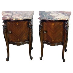 Pair of French Regency Style Marble-Top Nightstands