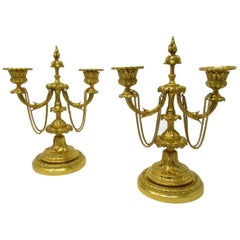 Pair of French Regency Style Ormolu Twin Light Candelabra Candlesticks
