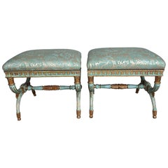 Pair of French Regency Style Painted Fortuny Benches