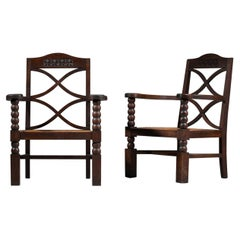 Pair of French Regionalist Armchairs from the 1940s